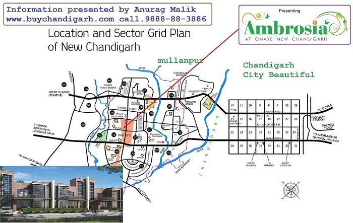 omaxe ambrosia new chandigarh mullanpur location map