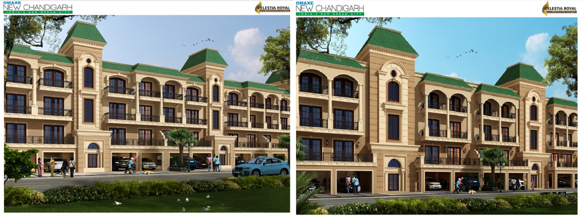 omaxe celestia royal new chandigarh mullanpur elevation plan
